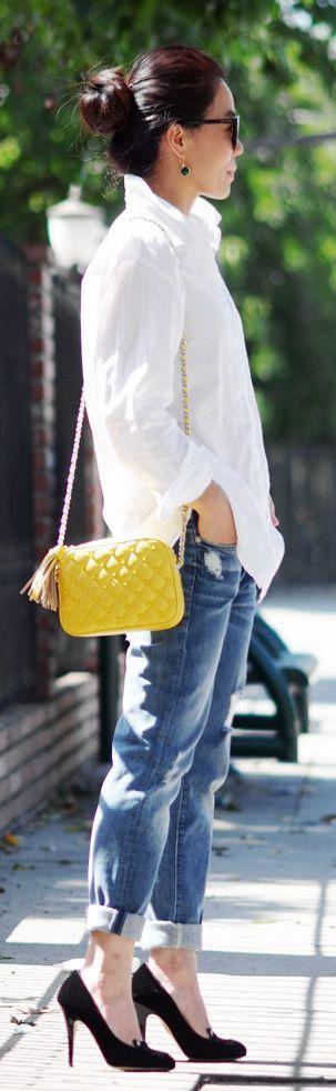 Rebecca Minkoff Yellow Flirty Crossbody with Enamel Studs by Hallie Daily