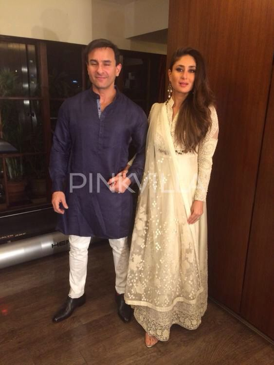 The Royal Couple! Saif and Kareena set out from their home for a #Diwali bash.