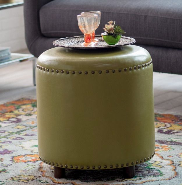 Round Leather Ottoman Hassock Footstool Seat Nailhead Stud Accents Green Bonded Home Garden Furniture Ott Leather Ottoman Round Leather Ottoman Footstool