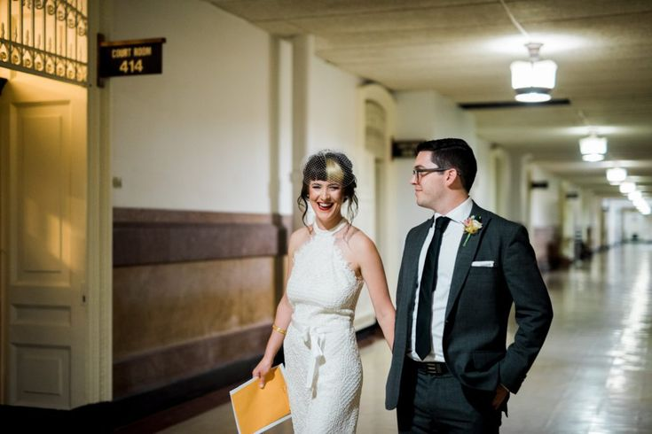 Small modern elopment at Philadelphia City Hall. Full wedding shared on Flutter Social by Haley Richter Photography.