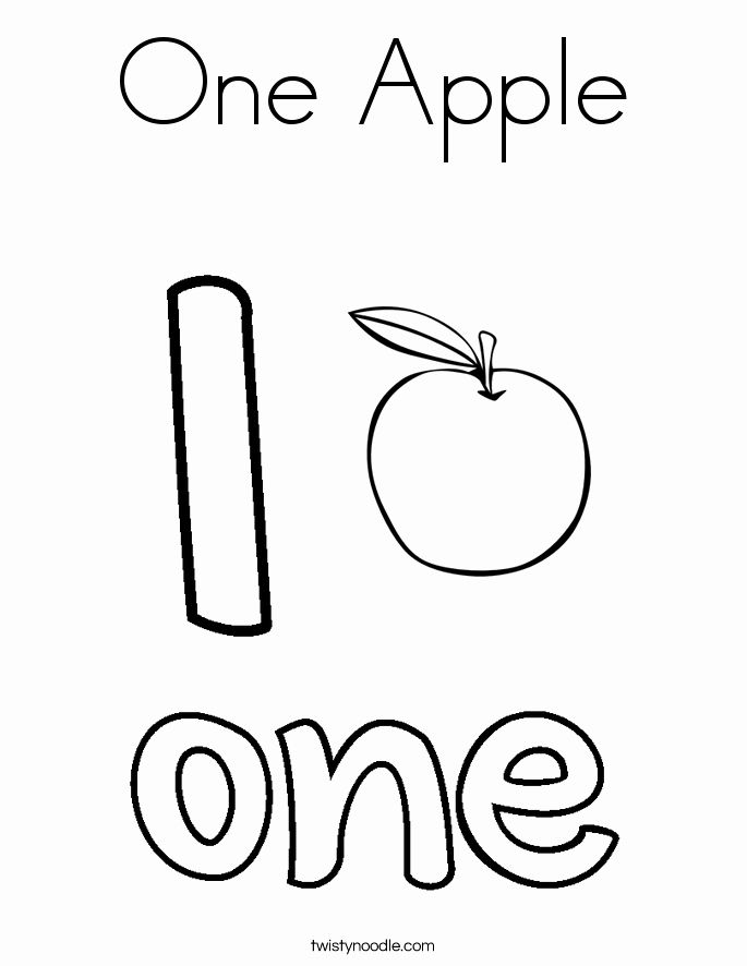 Number 1 Coloring Sheets Beautiful E Apple Coloring Page Twisty Noodle Apple Coloring Pages Apple Coloring Easy Coloring Pages