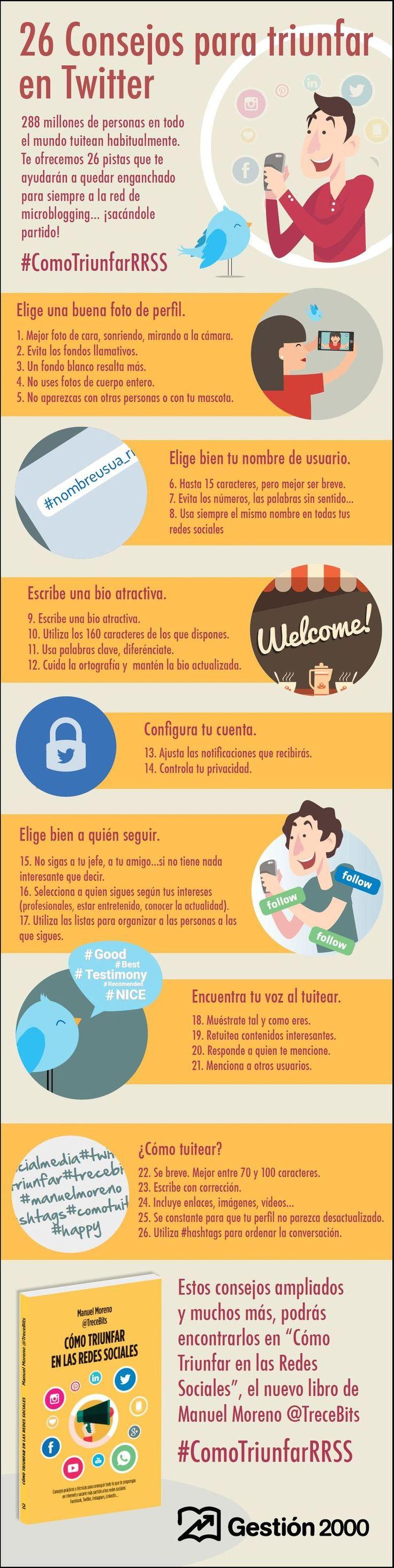 26 consejos que debes conocer para triunfar en Twitter. #infografía en español. #CommunityManager