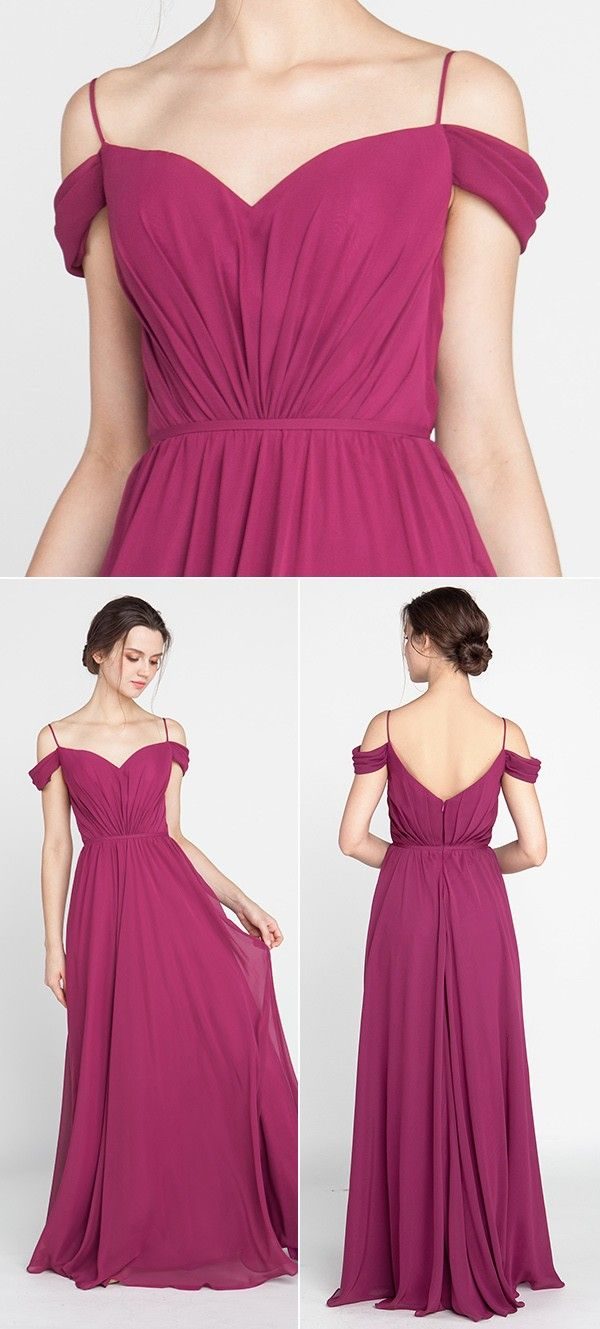 Spaghetti Straps Off the Shoulder Bridesmaid Dresses TBQP389