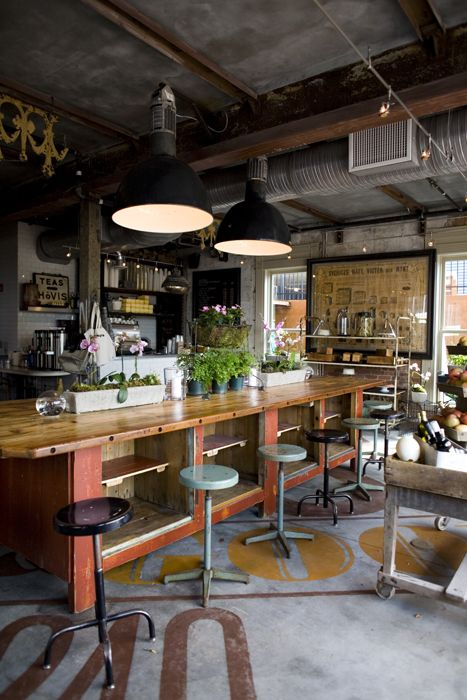 the parish market . atlanta: Ideas, Loft Kitchens, Industrial Kitchens, Cafe, Industrial Style, Concrete Floors, Paintings Floors, Coffee Shop, Design