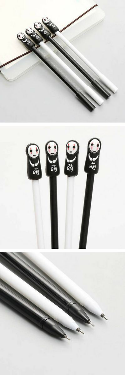Found on Etsy! No-face Gel Pens - Spirited Away - Studio Ghibli. LOVE these kawaii gel pens featuring noface from the Miyazaki anime Spirited Away. These would be a great gift idea for any stationary fans or anime fans, especially fans of cute Japanese stationery and pens! Maybe a good back to school supplies gift too! In black or white, buy on Etsy and ships worldwide. #stationery #pens #anime #ghibli #spiritedaway #affiliate