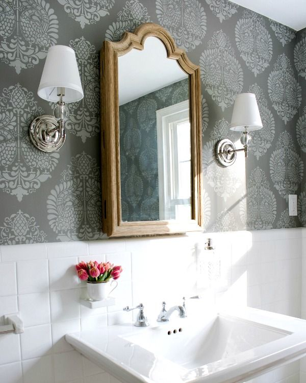 Powder room with stenciled walls - looks so much like wallpaper!