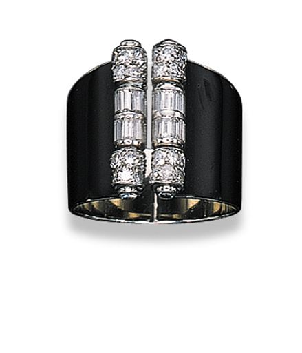AN ART DECO LACQUER AND DIAMOND RING, BY CARTIER   The front set with two single and baguette-cut diamond columns to the black lacquer expandable tapered band, 1934, in a Cartier red leather fitted case  By Cartier