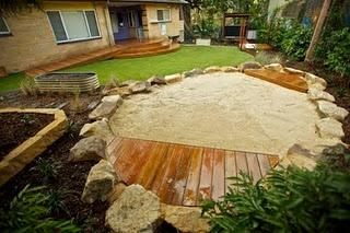 sandbox: Natural Playspac, Lounges Chairs, Rose Natural, Sands Pit, Decks, Sandbox Ideas, Built In, Backyard, Back Yard