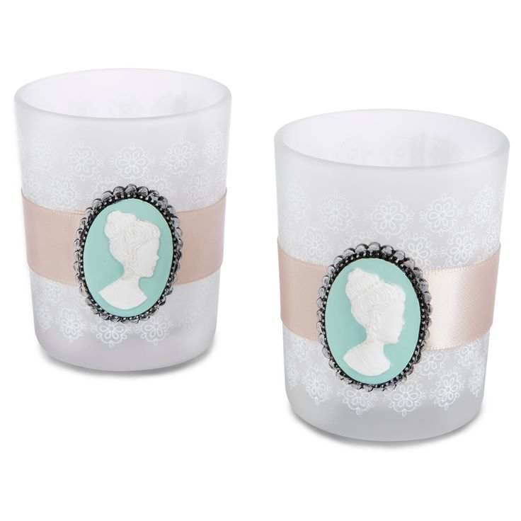 12ct Vintage Cameo Frosted Glass Tea Light Holder - Kate Aspen,