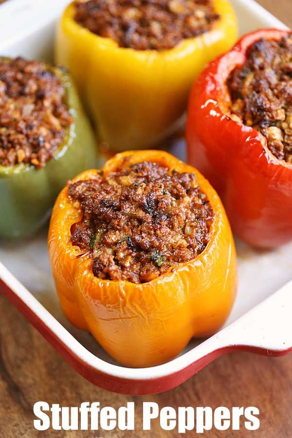 Flavorful Stuffed Bell Peppers Are Stuffed With A Mixture Of Seasoned Ground Beef And Cauliflower Ri Stuffed Peppers Easy Stuffed Pepper Recipe Peppers Recipes