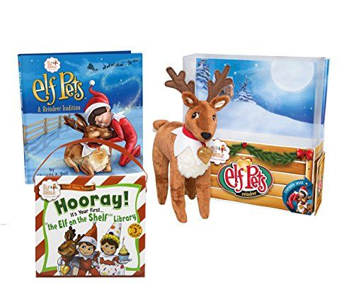 Elf on the Shelf Elf Pets Holiday Readers Gift Bundle: A Reindeer Tradition Storybook with Cuddly Plush Reindeer and Scout Elves Hooray! Its Your First Elf on the Shelf Library 3 Book Set for 2-4 Year Olds