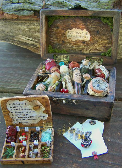 Potions ingredients. Dollhouse Miniature Harry Potter Potions Chest, Ingredients box, and Hogwarts stationary set 1/12 scale