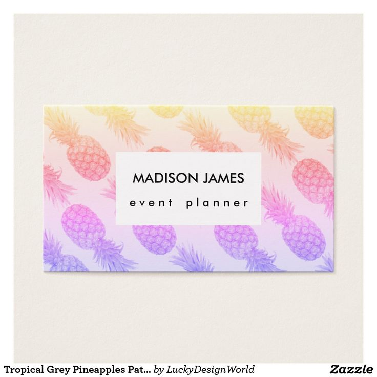 54 best zazzle collection business cards images on pinterest tropical grey pineapples pattern rainbow shades business card reheart Gallery