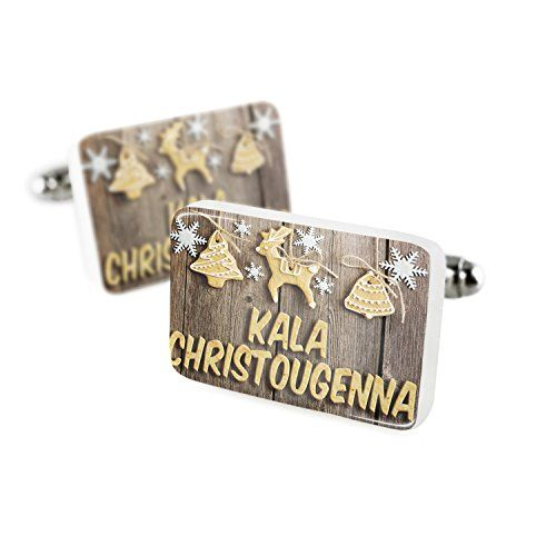Cufflinks Merry Christmas in Greek from Greece. Cyprus Porcelain Ceramic NEONBLOND * You can find more details at