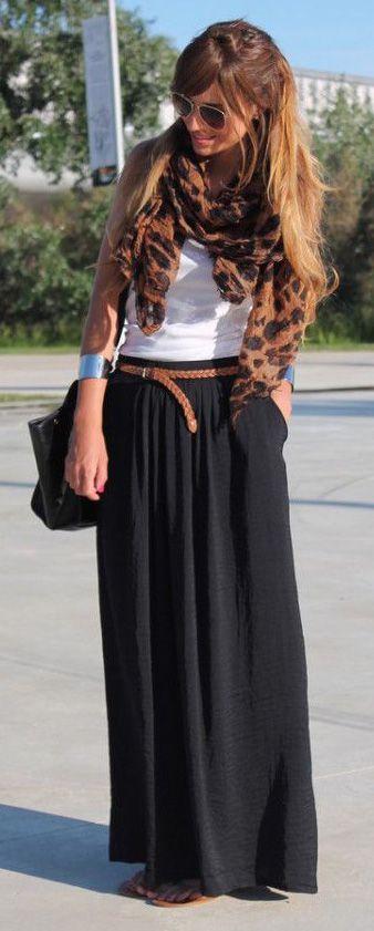 .black maxi, skinny brown belt, white t shirt, leopard scarf, silver cuff bracelet, black purse.