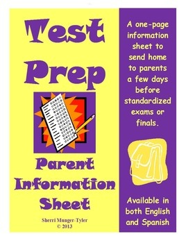 A parent information sheet to send home just before standardized exams or finals, this handout is full of practical, easy-to-implement ideas parents can use to help their child(ren) be ready for the big day! Presented in both English and Spanish! $3.60