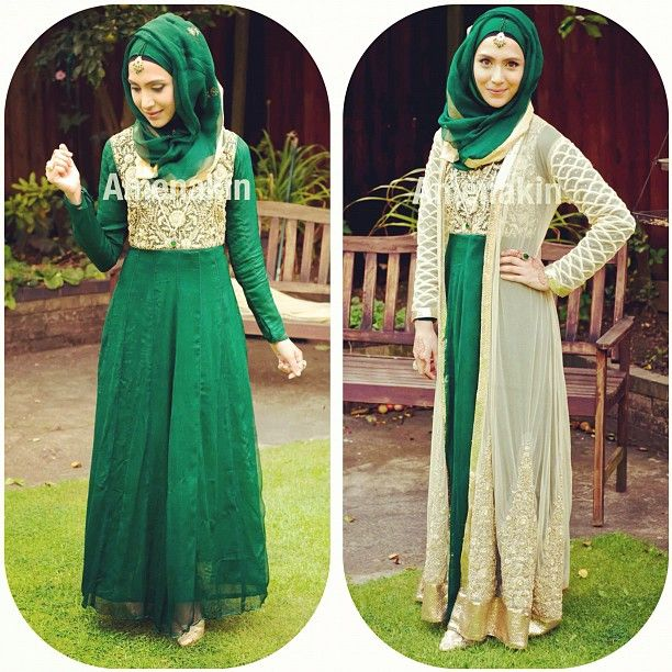 taken from Pearl Daisy green and gold #hijab gorgeous outfit love the coat on top