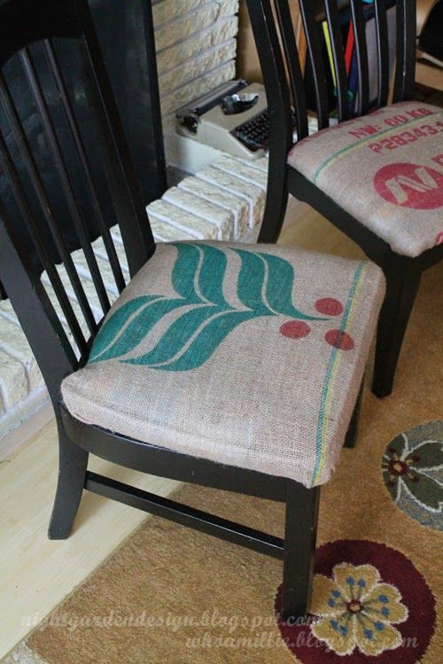 Night Garden Blog: coffee sack burlap chair reupholstery