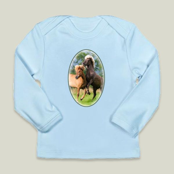 Fun Indie Art from BoomBoomPrints.com! https://www.boomboomprints.com/Product/KathoMenden/Icelandic_horses_playing_and_rearing/Infant_Long-Sleeve_T-Shirts/18-24M_Sky_Blue_Infant_Long-Sleeve_T/