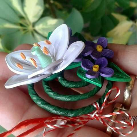 March brooche  - lily and violets  by Maria Oroian