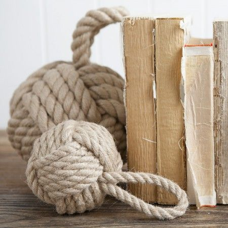 Nautical knot door stops can also be used as book ends