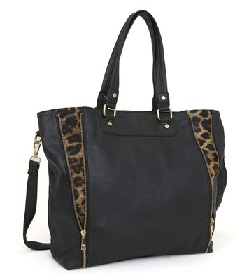 This Rebecca Rifka Black Leopard Expandable Tote By