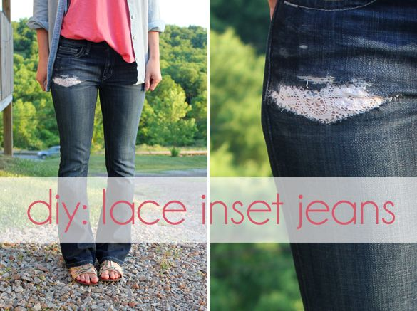 The Forge: diy: lace inset jeans. Great idea if I ever have ripped jeans!