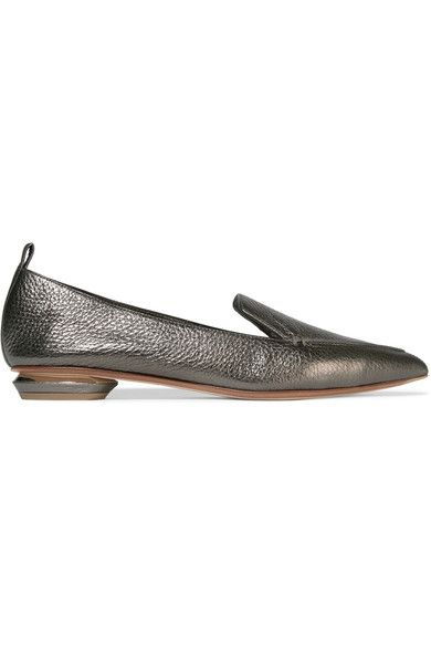 Nicholas Kirkwood - Beya Metallic Textured-leather Point-toe Flats - Gunmetal - IT37.5
