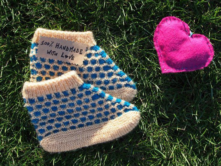 Wool slippers socks unisex handknit handmade in Bosnia BLUE / YELLOW BEIGE colours di LovingBalkans su Etsy