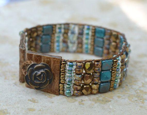 Loomed Beaded Bracelet - Sundance Style Artisan Jewelry - Turquoise, Copper, Earthtones - Go West by SplendorVendor