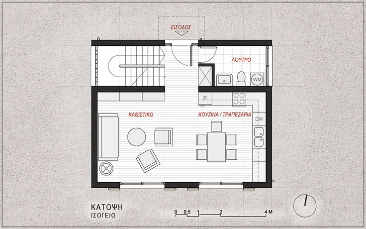 Standardised House Prototype 130 sqm, Ground Floor Plan - www.pzarch.gr