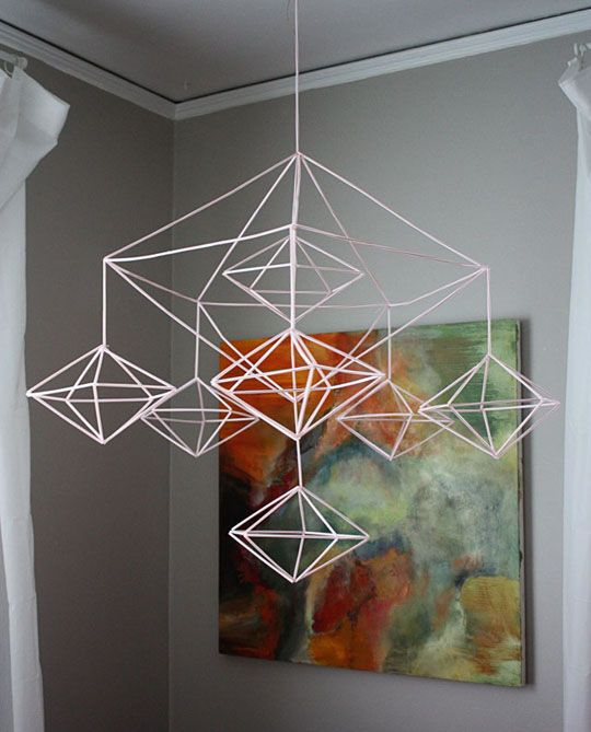DIY Make Your Own Decahedron geometric Himmeli Mobile with straws. via Apartment Therapy.   I'll make this for the new babies in the family lol