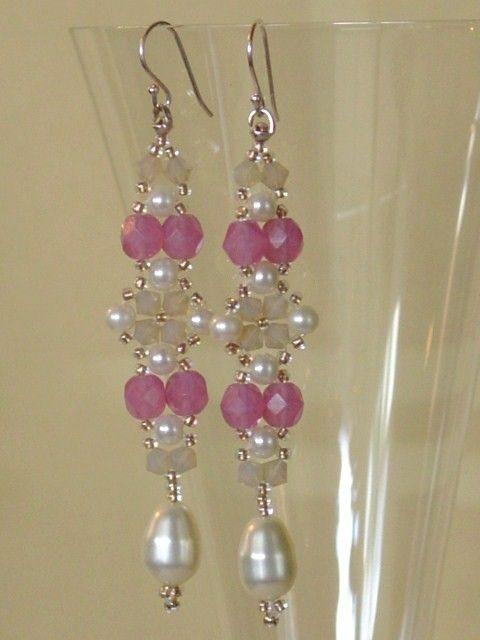 Beadwoven Beadwork Earrings - Pink with Pearls Beaded Beadweaving Jewelry- Seed Beads