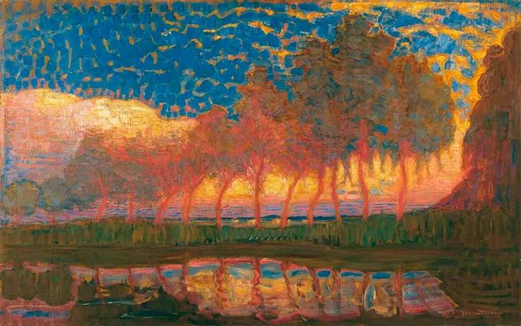 "Piet Mondrian (Pieter Cornelis Mondriaan) (Dutch, Post-Impressionism, 1872-1944): Row of Eleven Poplars in Red, Yellow, Blue, and Green, 1908. Oil on canvas, 69 x 112 cm (27.17 x 44.09 inches). Private Collection. © Mondrian/Holtzman Trust c/o HCR International Virginia. This artwork is posted in accordance with fair use principles. #IRequireArt @irequireart #art #Dutch #PietMondrian  ""No one could have predicted he would die an avant-garde hero in New York in 1944 and be remembered in the…"