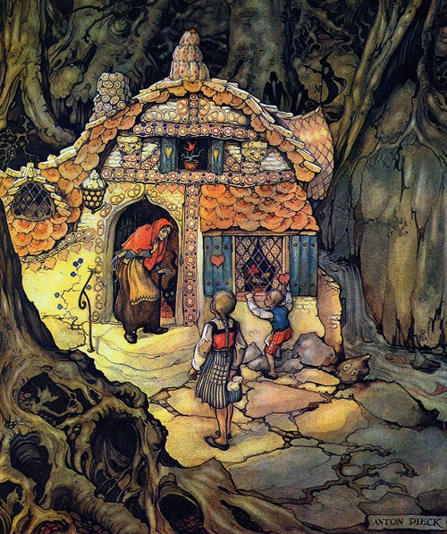 illustration jeunesse hollandaise : Anton Pieck, Hansel & Gretel, conte, maison, nourriture, forêt, enfants
