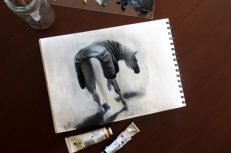 Horse oil sketch by Magdalena Dymańska