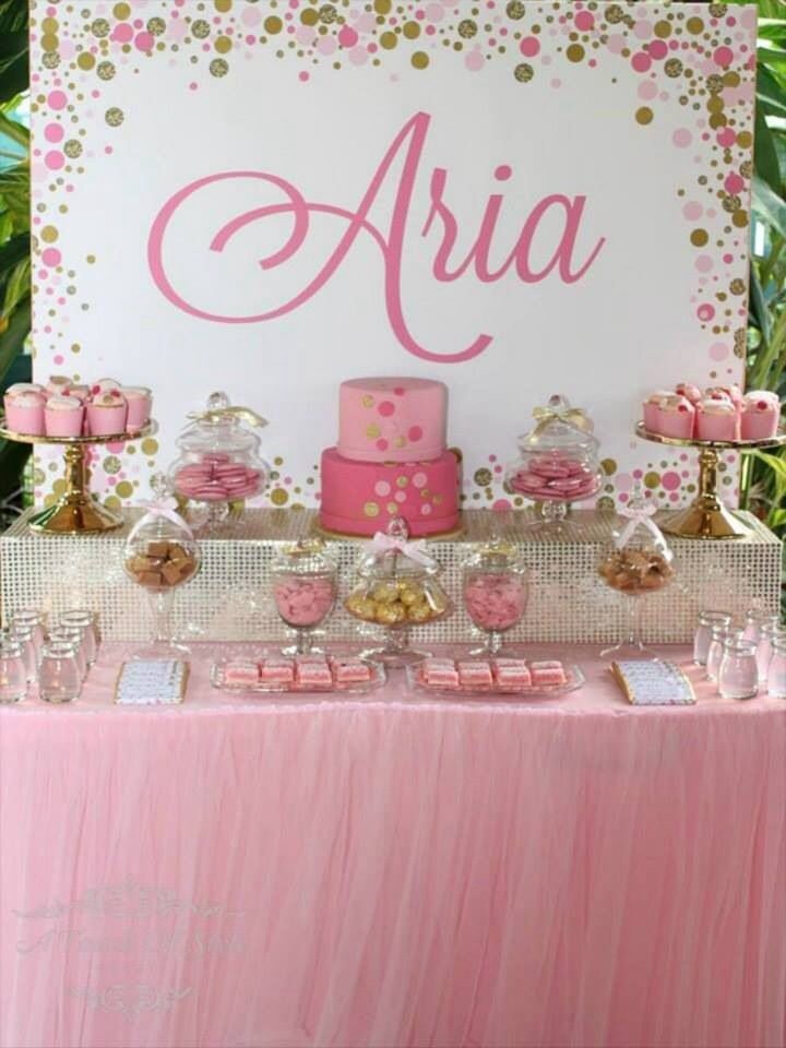 How lovely is this table with a gold sequinned riser .This beautiful pink tulle tablecloth and gold cake stands , lolly jars,mousse pots and platters are for hire at mysweeteventhire Melbourne .