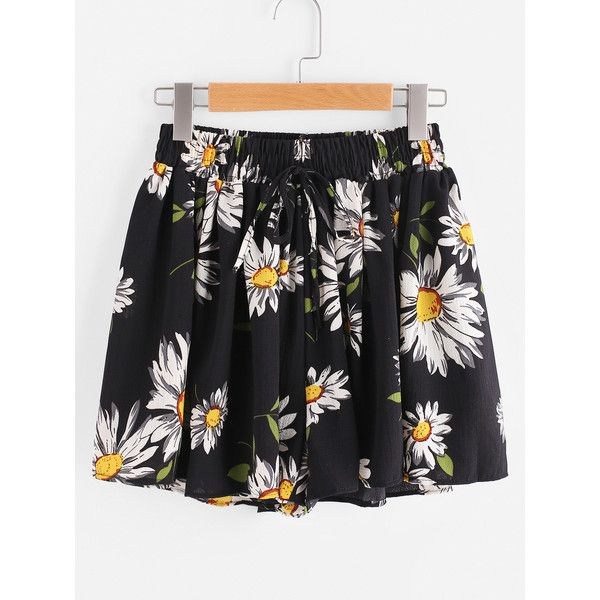 Sunflower Print Random Drawstring Shirred Waist Chiffon Shorts ($7.99) ❤ liked on Polyvore featuring shorts, black, floral print shorts, chiffon shorts, loose shorts, ruched shorts and flower print shorts