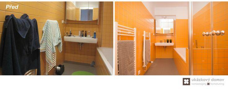 Home Staging částečně zařízeného podkrovního bytu v Praze na Smíchově, více info k tomuto projektu na http://ukazkovydomov.cz/2016/08/07/home-staging-castecne-zarizeneho-bytu-3-kk-v-praze-na-smichove-cerven-2016/ #praha #prague #czech #homestaging #pred #po #before #after #orange #podkrovni #attic #bathroom #koupelna #oranžová #obklad #keramický #ceramic #tiles