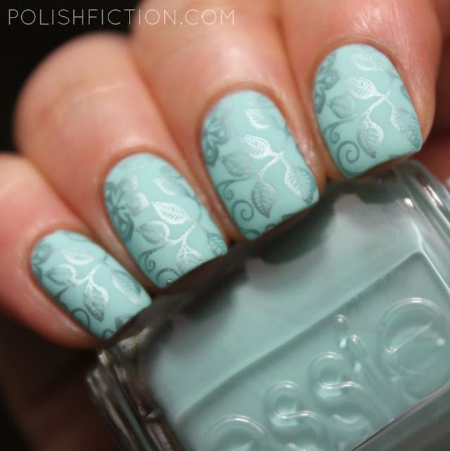 Essie Blossom Dandy with some stamping nail art