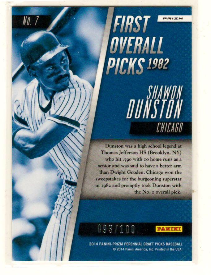 Sports Cards Baseball – 2014 Panini Prizm Draft Picks # 93/100 (First Overall Picks 1982) Shawon Dunston – Free Shipping