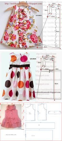 Tres modelos para la pequeña que tienes en casa. #vestido #proyecto #costura