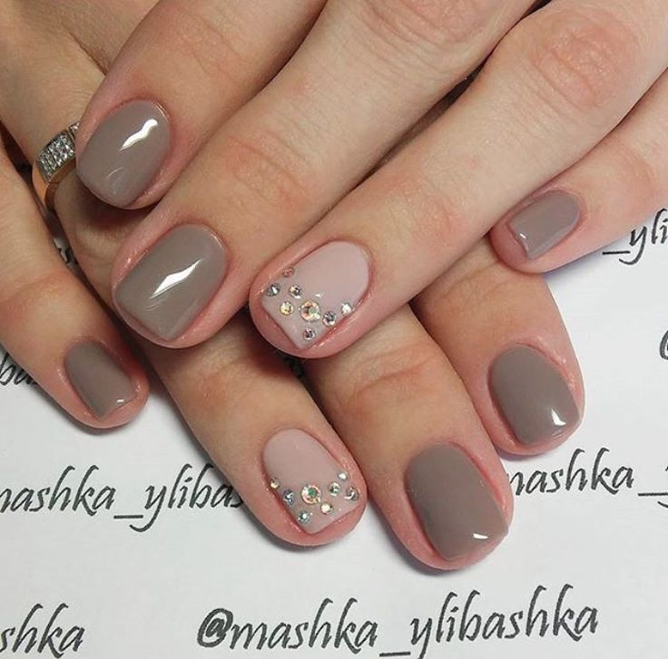 935 best nail designs images on pinterest nails design cute how to pair a deep taupe with just enough bling on the accents nails this set goes from a day in the office to a night out in a blink prinsesfo Images