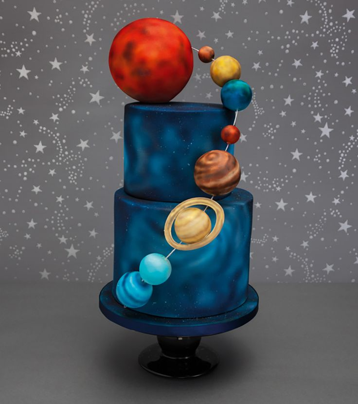 Solar system airbrushed cake ideas pinterest cake solar system cake and birthday - Solar system decorations ...