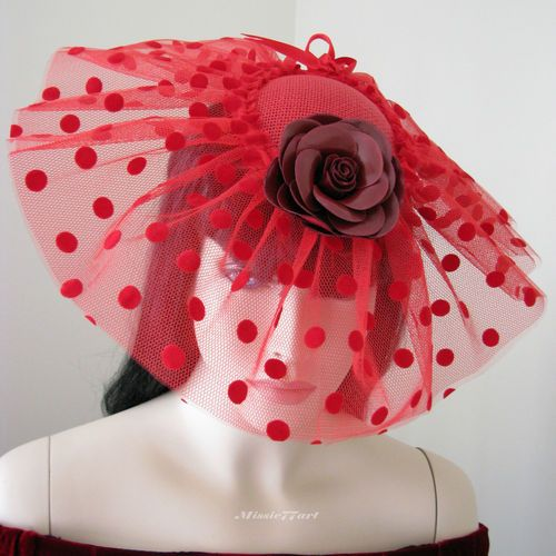 Vintage Inspired Red Polka Dot Pinwheel Fascinator Hat with Rose - Melbourne Cup $139.95 by Missie77art Jewellery on eBay