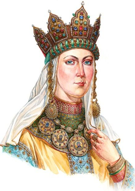 Russian Grand Princess in her festive head-wear with temple pendants (kolty). Late 12th – early 13th century. Reconstruction of the wearing style according to the archaeological data. #medieval #Russian #history
