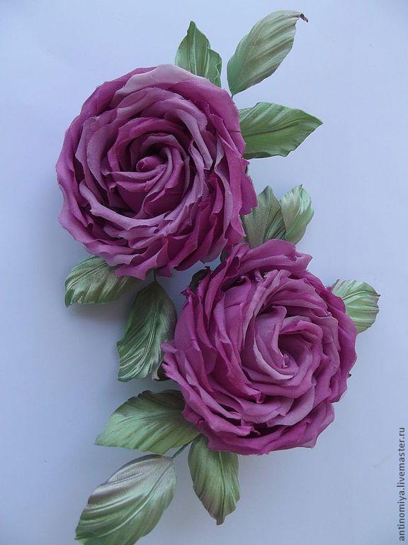 """Купить Цветы из шелка. Роза """"Май"""" - фуксия, розовый, розы из шелка, розы из ткани"""