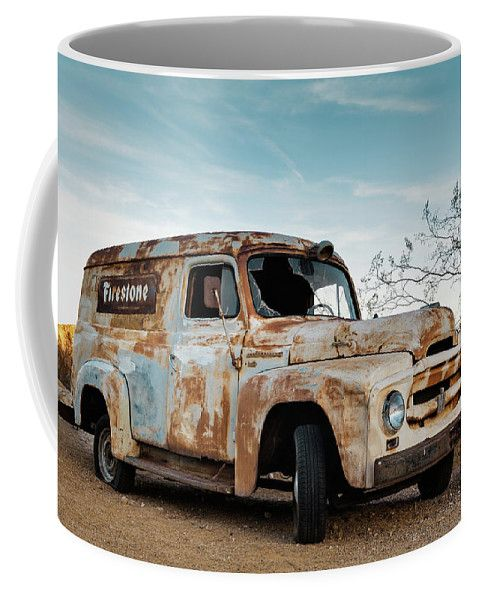 Coffee Mug featuring the photograph Rusty Vehicle by Evgeniya Lystsova. Coffee time, Kitchen, Gift, Home and Office products. Our ceramic coffee mugs are available in two sizes: 11 oz. and 15 oz. Each mug is dishwasher and microwave safe. SHIPS WITHIN 1 -2 business days!