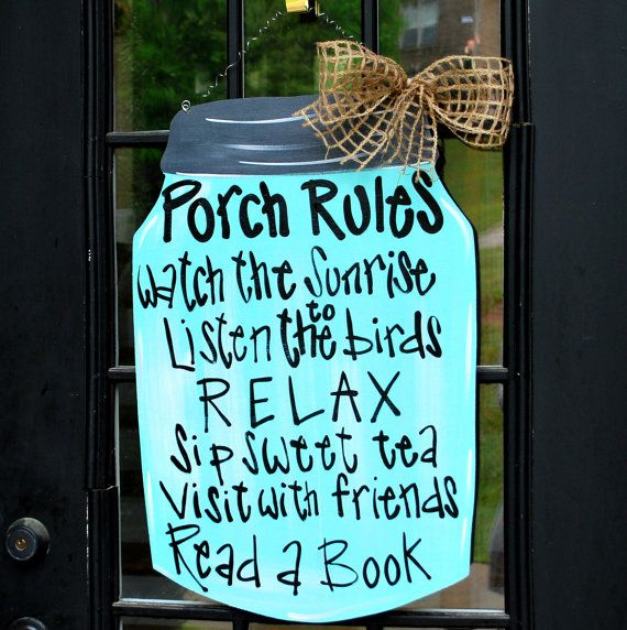Porch Rules Sign, Mason Jar Decor, Door Decor, Door Hanger, Summer Wreath via Etsy