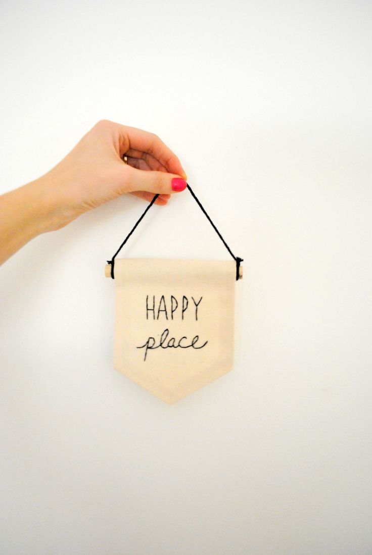 Embroidered Mini Banner HAPPY PLACE Canvas Wall Hanging Wall Banner Mini Banner by SharpToothStudio on Etsy
